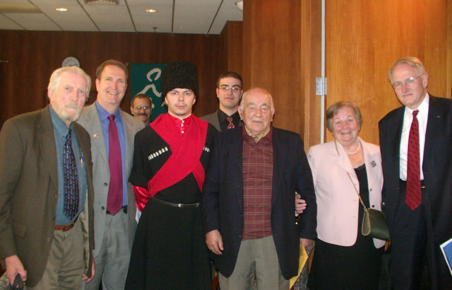 "A picture of Paul B. Henze, Jamestown President Glen Howard and Kemal Karpat (farthest to the left, second to the left, and third from the right, respectively) at Jamestown's 2007 event, ""The Circassians: Past, Present, and Future""; Kemal Karpat; Paul B. Henze."